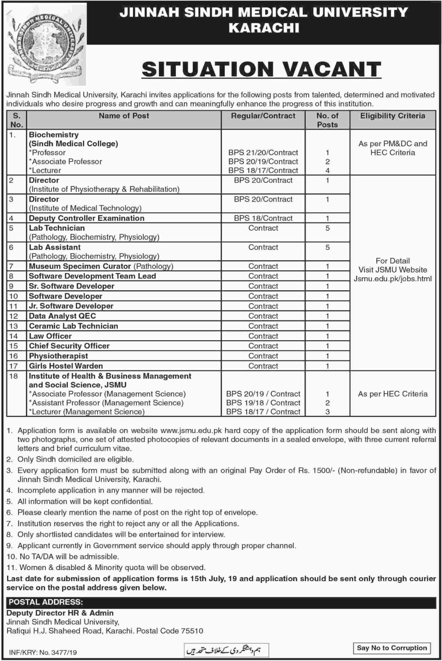 Jinnah Sindh Medical University JSMU Karachi Jobs 2019