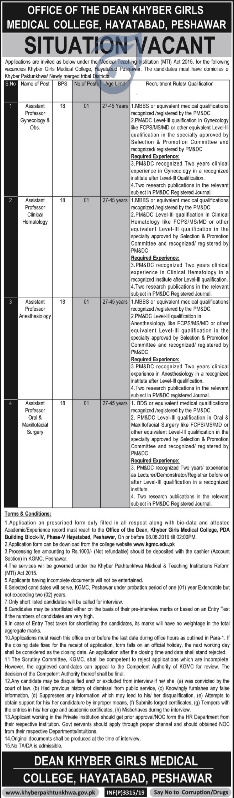Khyber Girls Medical College KGMC Hayatabad Peshawar Jobs 2019 KPK