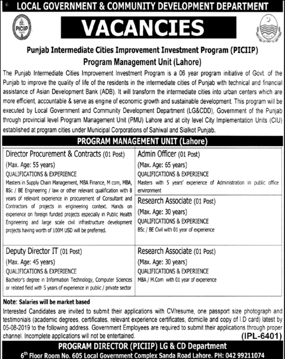 Local Government & Community Development Department LG&CD Punjab Jobs 2019