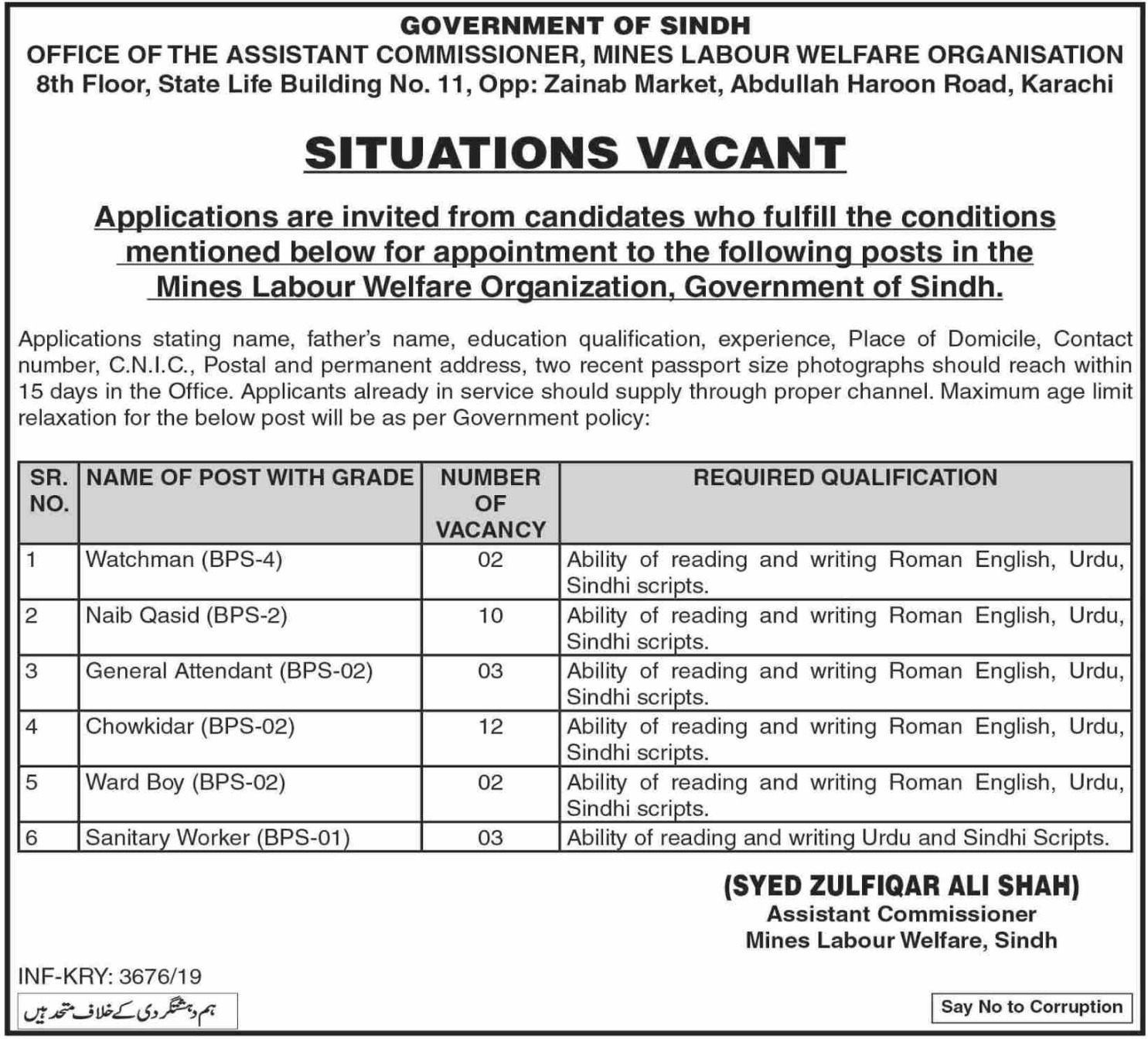 Mines Labour Welfare Organization Karachi Jobs 2019 Government of Sindh