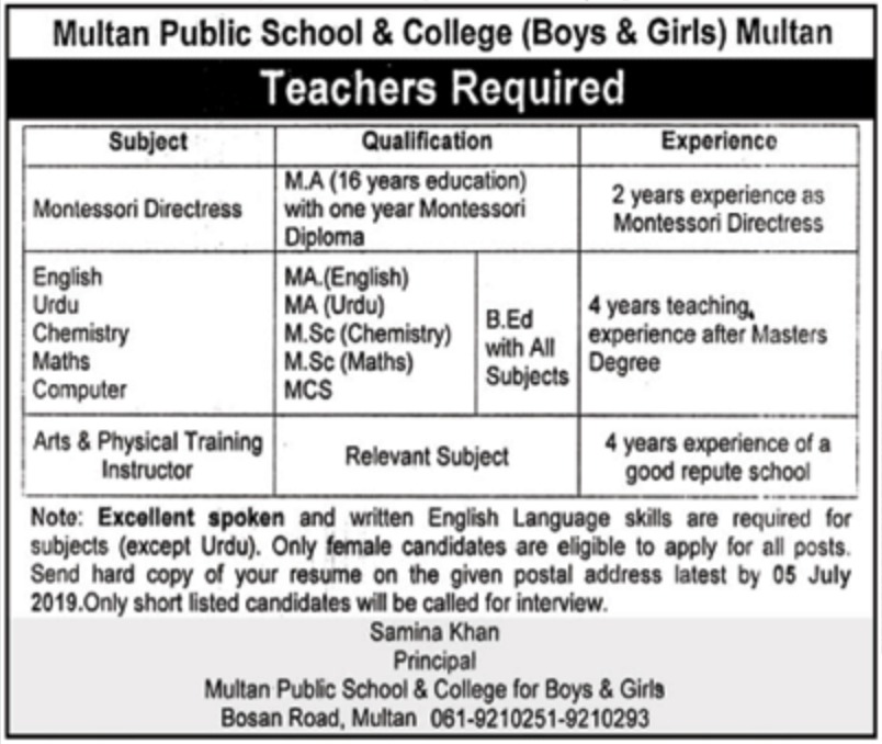 Multan Public School & College Jobs 2019