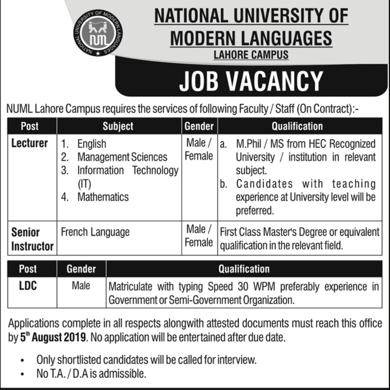 National University of Modern Languages NUML Jobs 2019 Lahore Campus