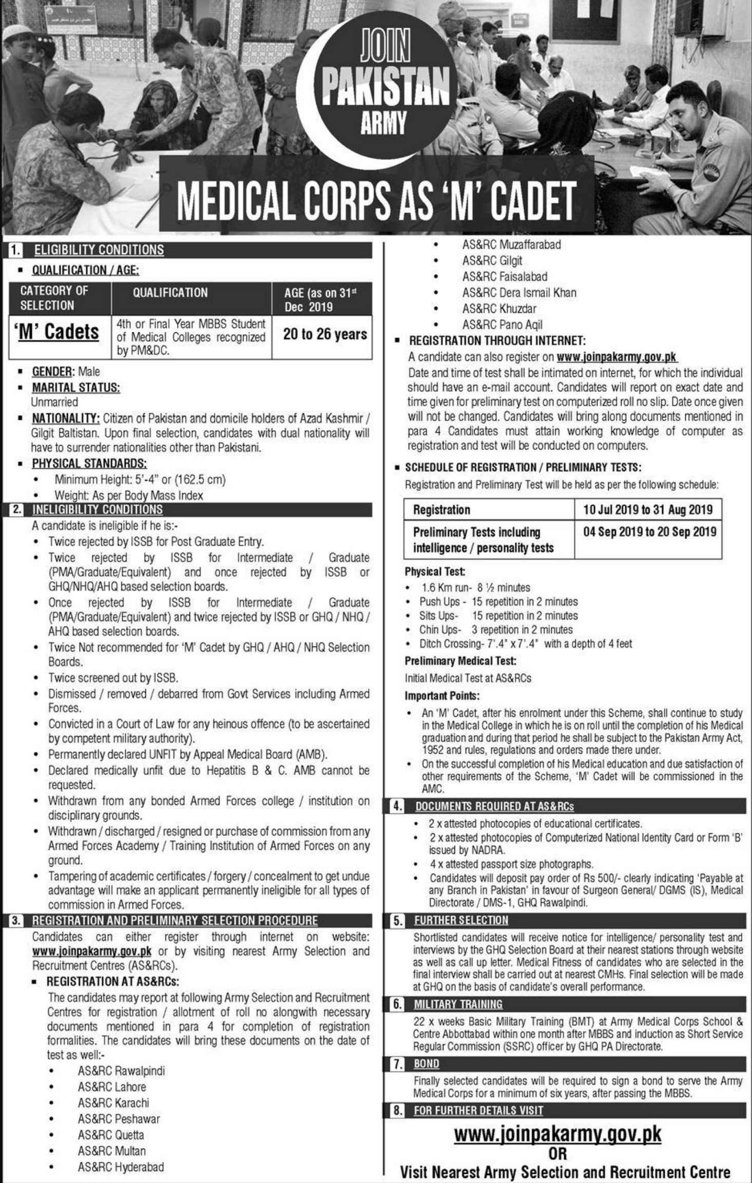 Pakistan Army Jobs 2019 Medical Corps as 'M' Cadet