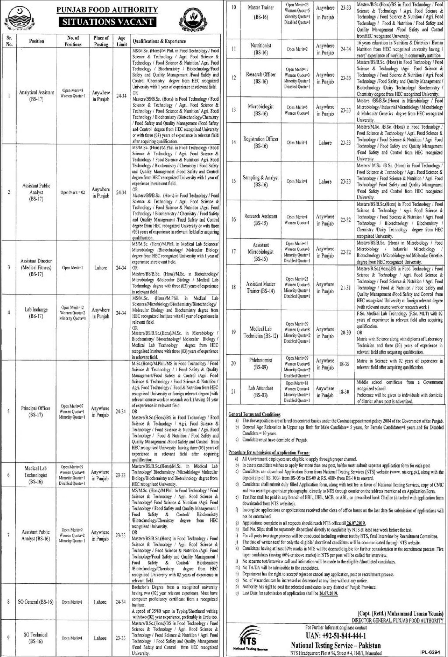 Punjab Food Authority PFA Jobs 2019 Download NTS Application Form