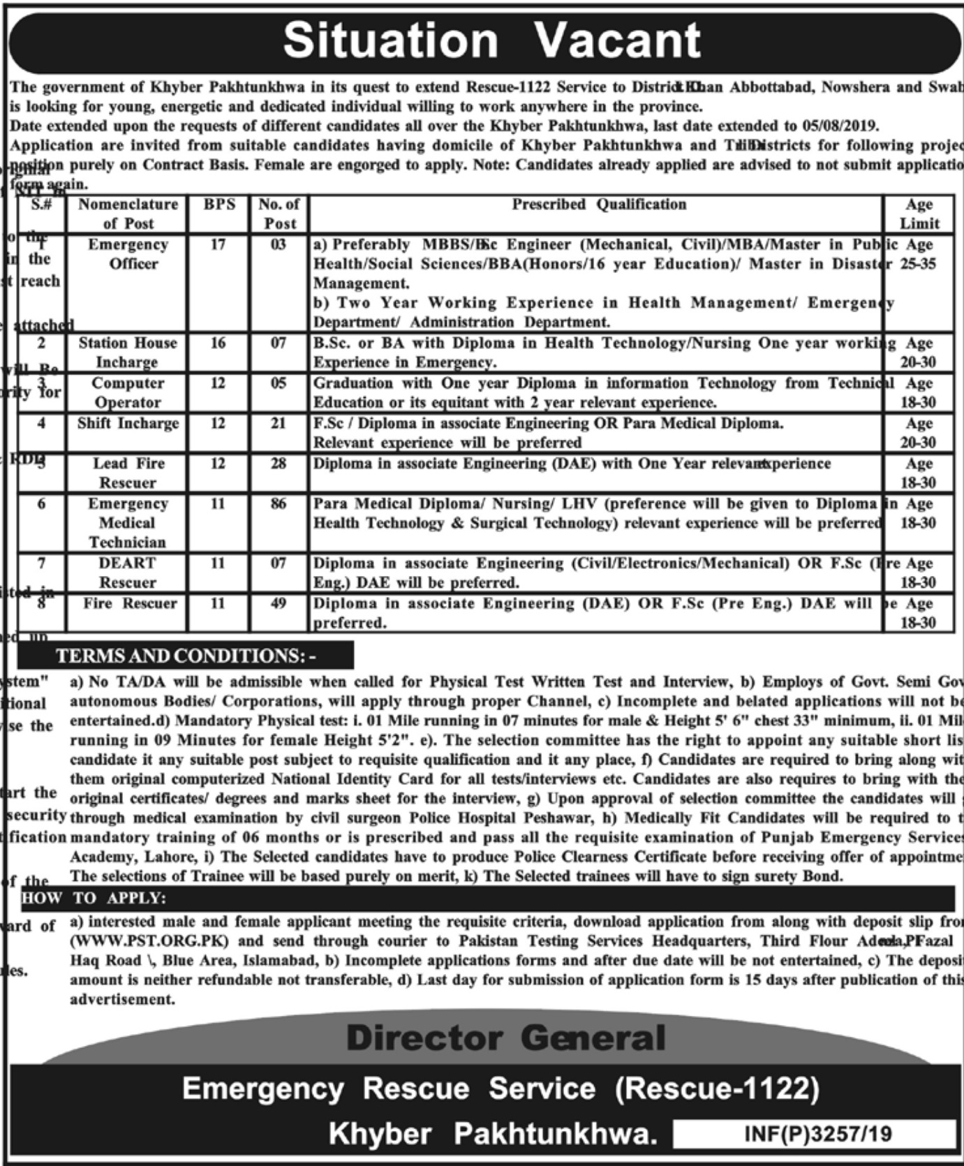 Rescue 1122 Khyber Pakhtunkhwa Jobs 2019 Download PTS Application Form