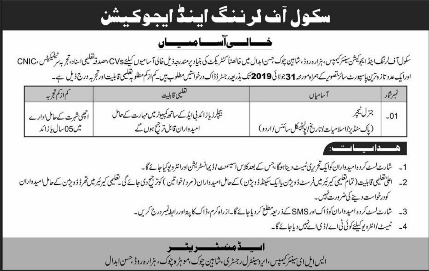 School of Learning & Education Hasan Abdal Jobs 2019