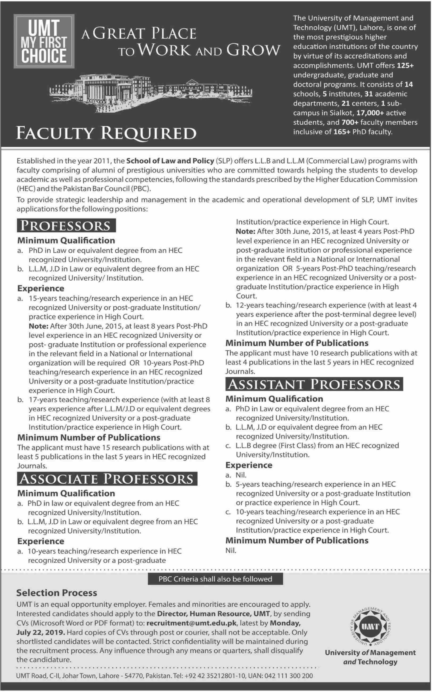 University of Management & Technology UMT Lahore Jobs 2019 School of Law and Policy