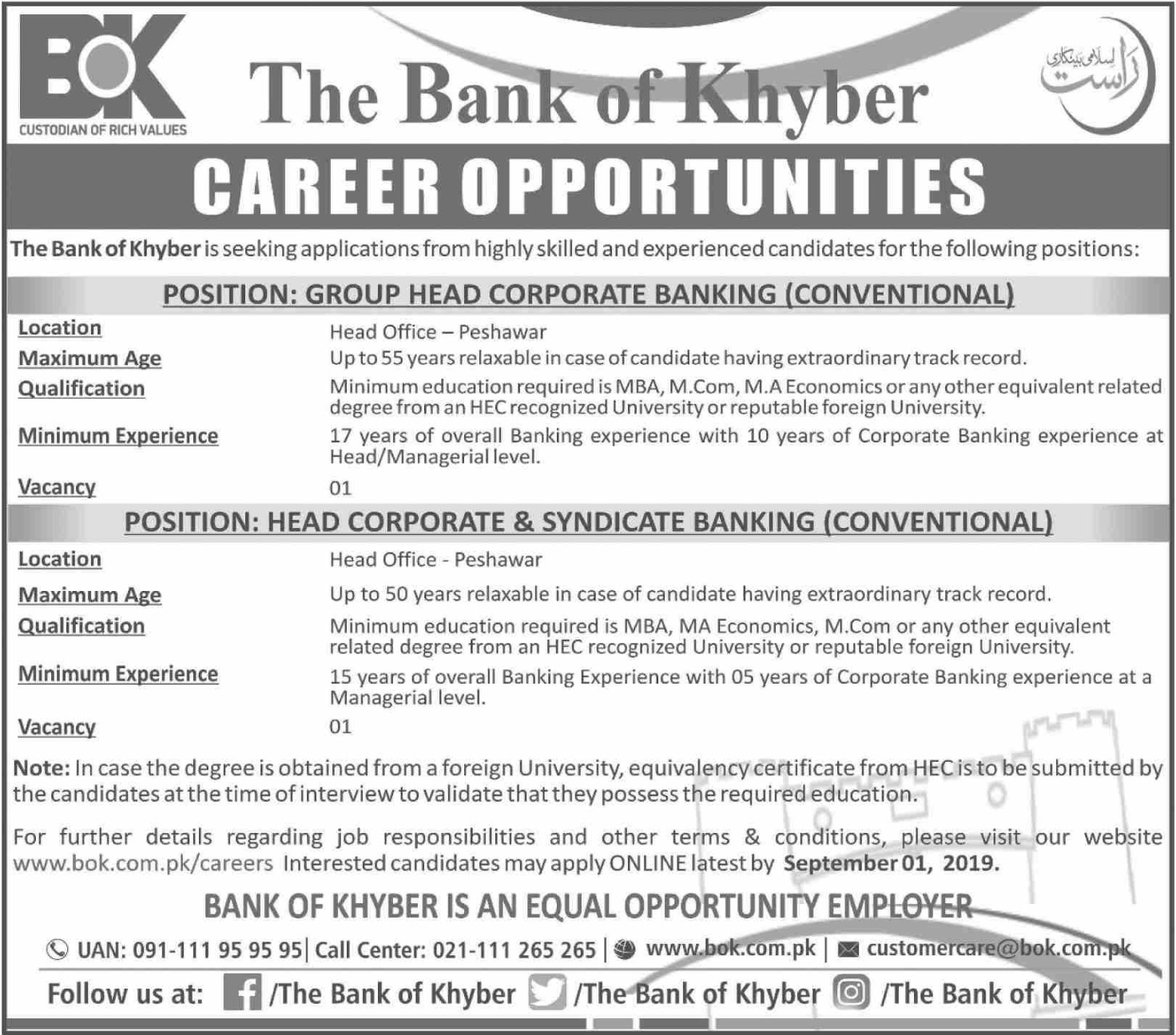 Bank of Khyber Jobs 2019 BOK Apply Online