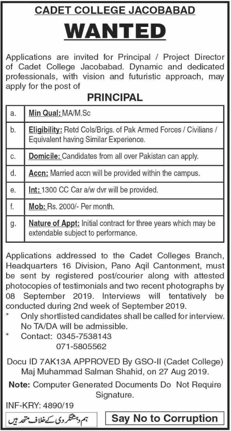 Cadet College Jacobabad Jobs 2019 Sindh