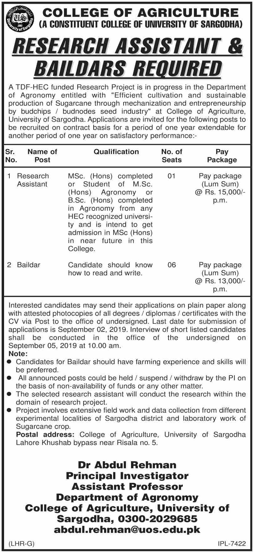 College of Agriculture Sargodha Jobs 2019