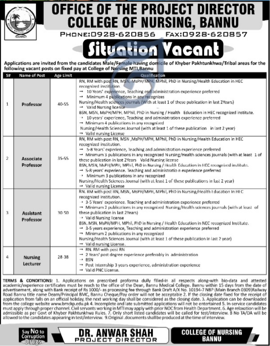 College of Nursing Bannu Jobs 2019 KPK