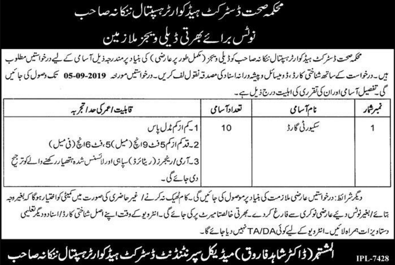 DHQ Nankana Sahib Jobs 2019 Punjab Health Department