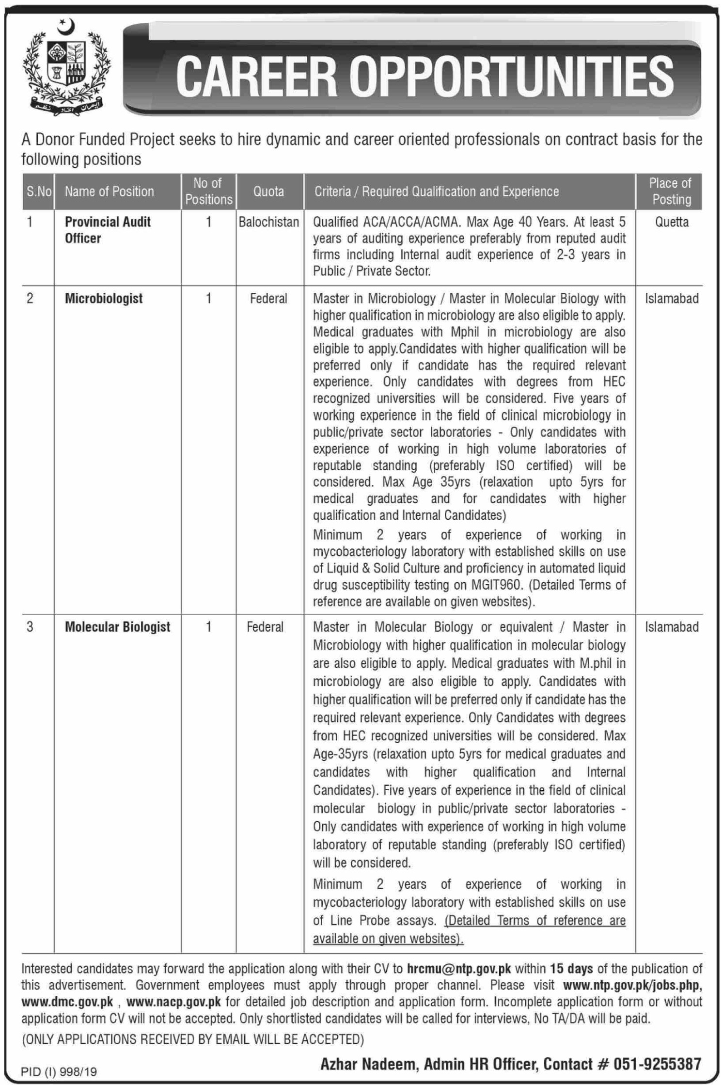 Donor Funded Project Islamabad Jobs 2019 Pakistan