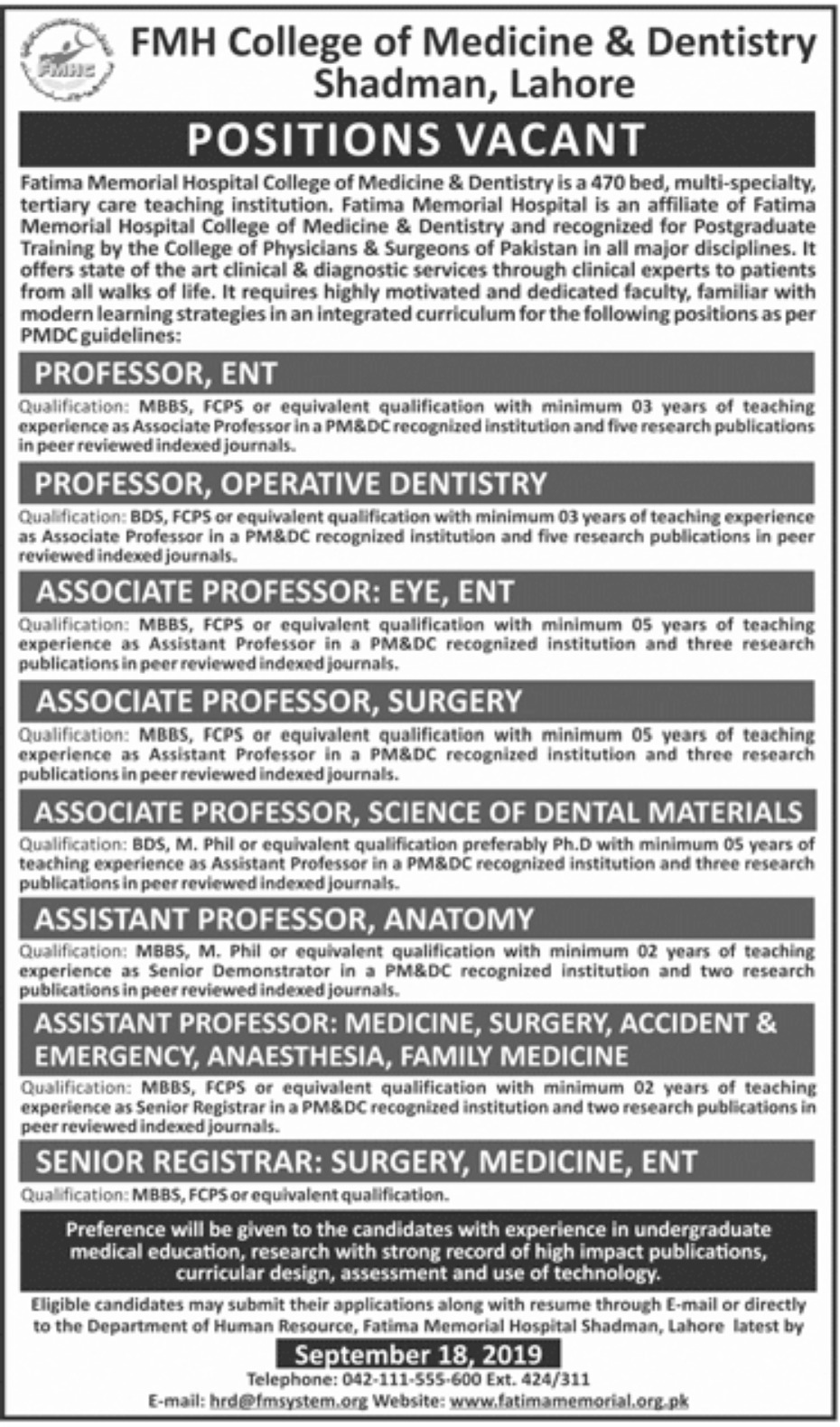 FMH College of Medicine & Dentistry Lahore Jobs 2019