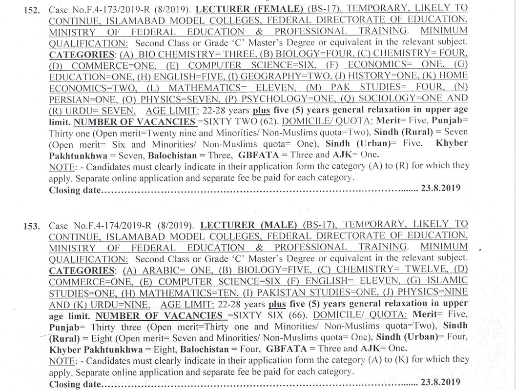 Federal Directorate of Education Jobs 2019 Lecturer FPSC Apply Online