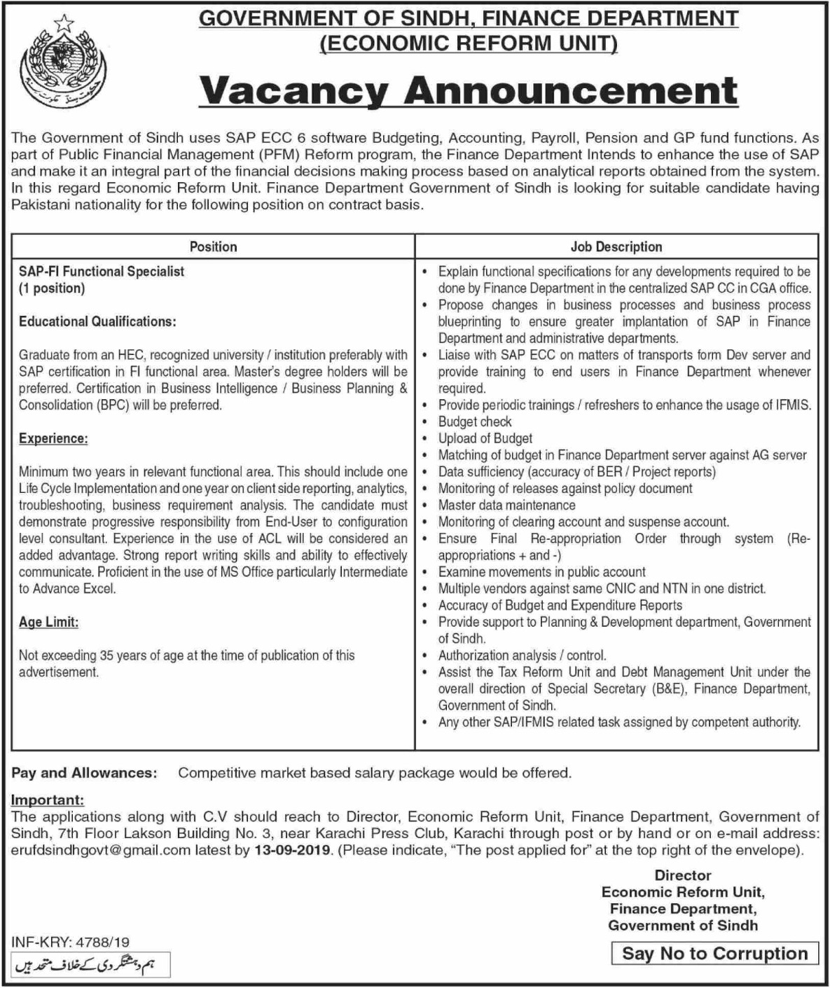 Finance Department Government of Sindh Jobs 2019