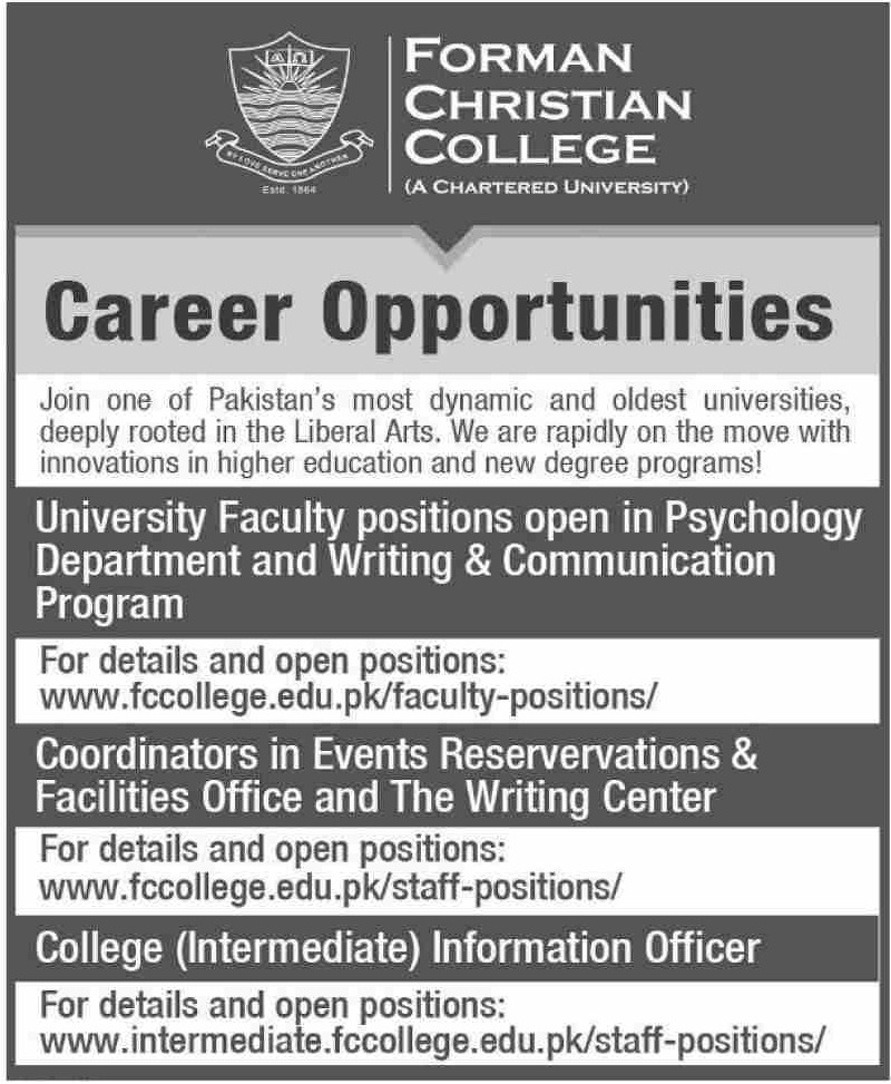 Forman Christian College Jobs 2019 FC College Lahore