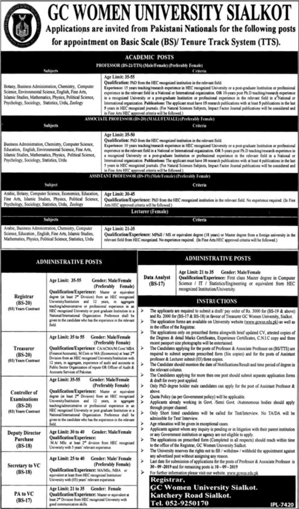 GC Women University Sialkot Jobs 2019 Download Application Form