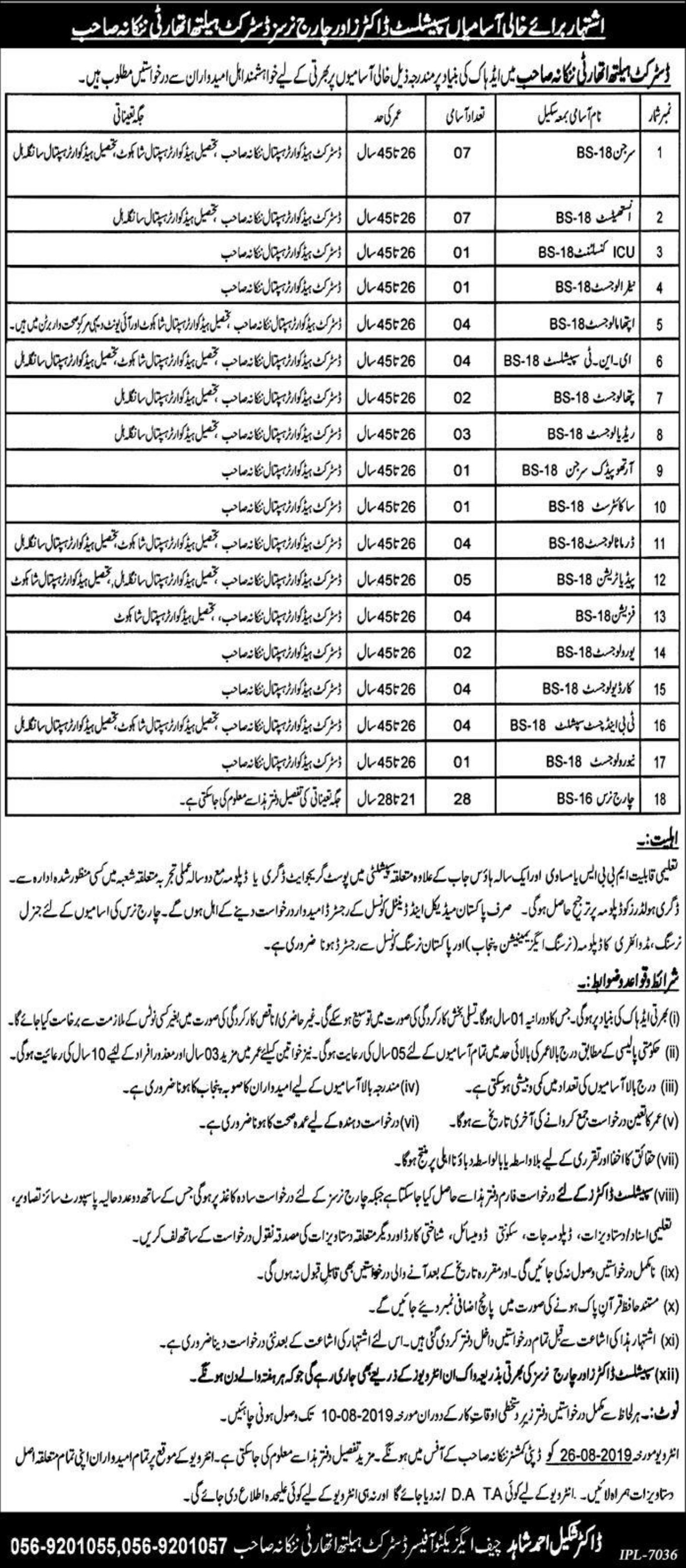 Health Department Government of Punjab Jobs 2019 District Health Authority Nankana Sahib