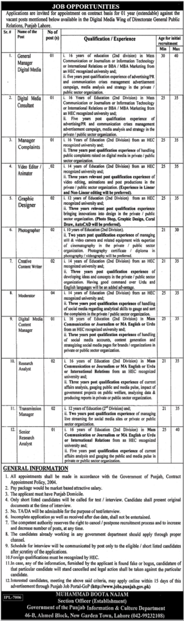 Information & Culture Department Government of Punjab Jobs 2019