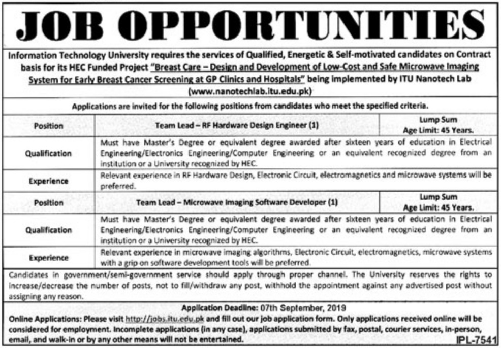 Information Technology University ITU Lahore Jobs 2019