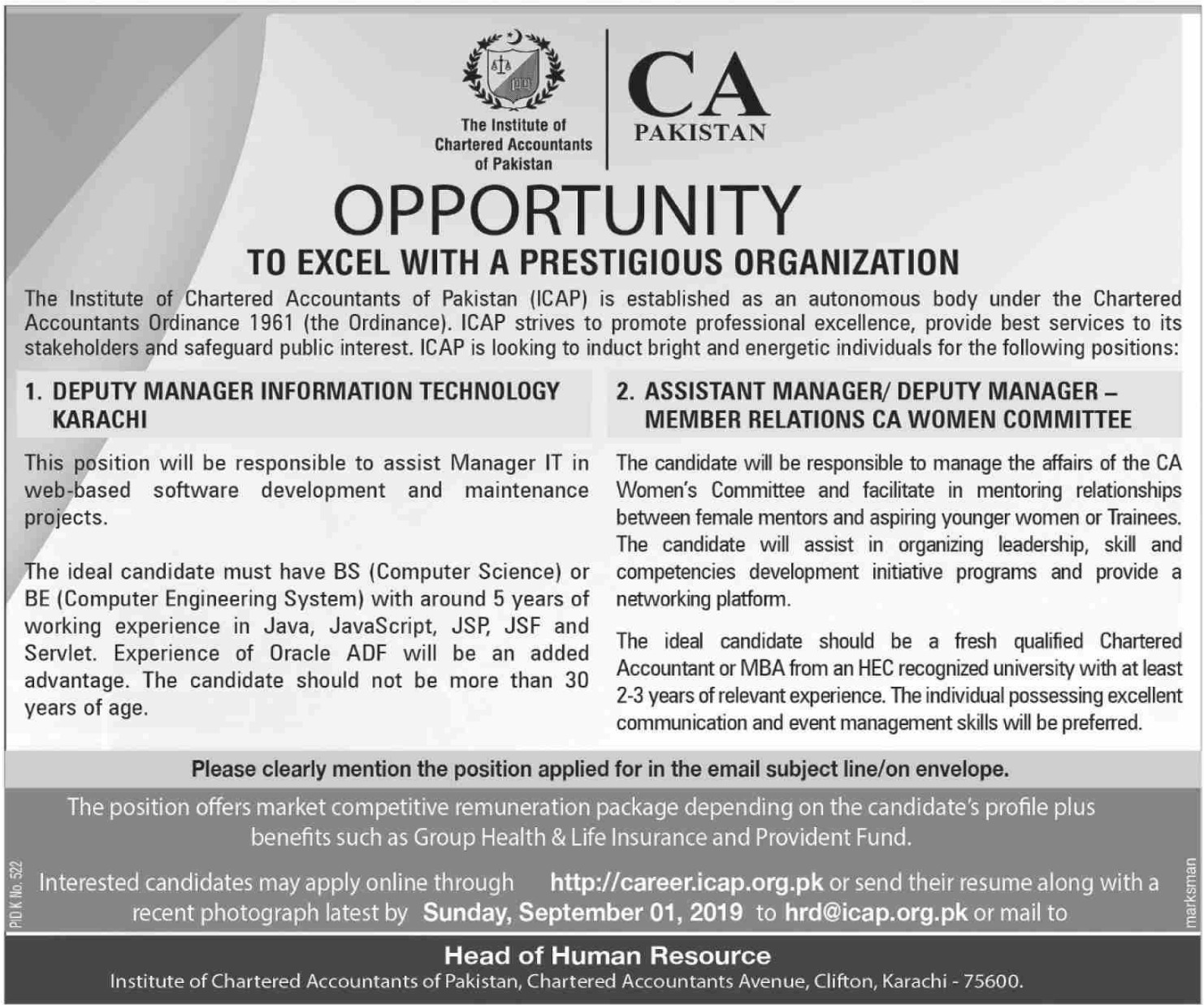 Institute of Chartered Accountants of Pakistan ICAP Jobs 2019 Apply Online