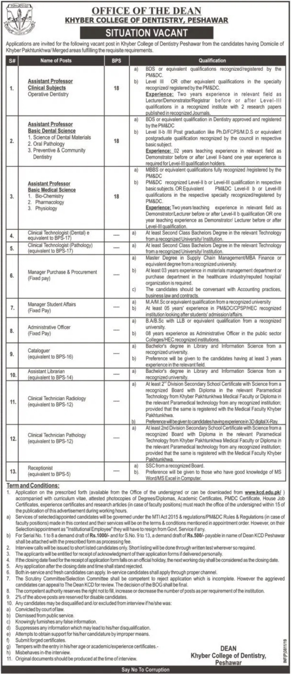 Khyber College of Dentistry KCD Peshawar Jobs 2019 Application Form