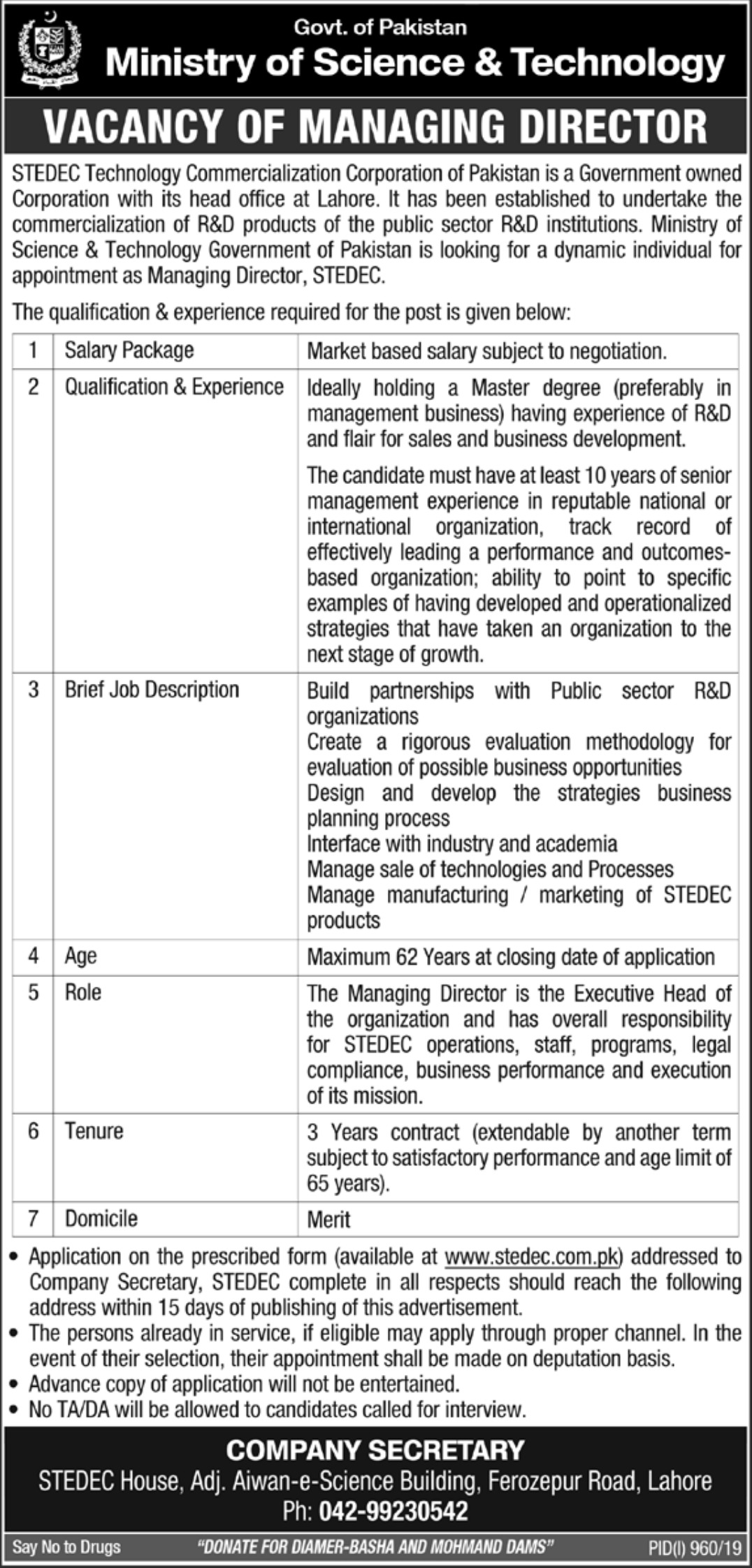 Ministry of Science & Technology Jobs 2019 Govt of Pakistan