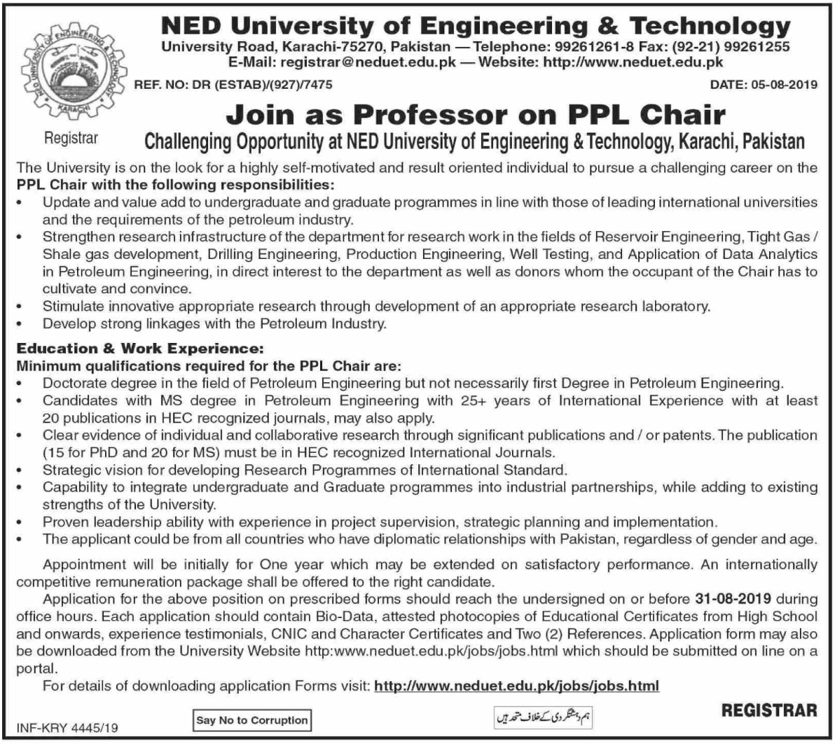 NED University of Engineering & Technology Karachi Jobs 2019