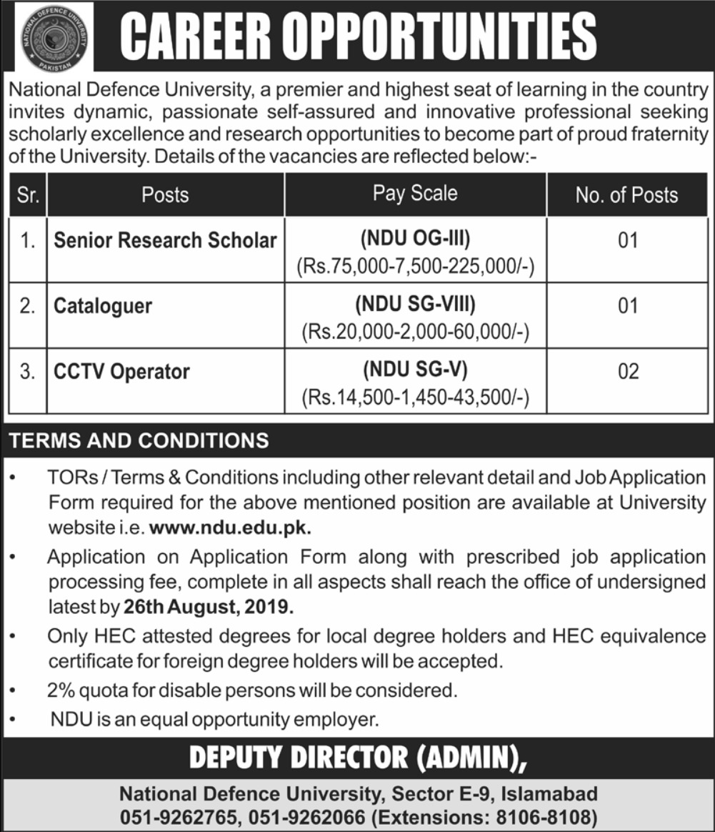 National Defence University NDU Islamabad Jobs 2019 Download Application Form