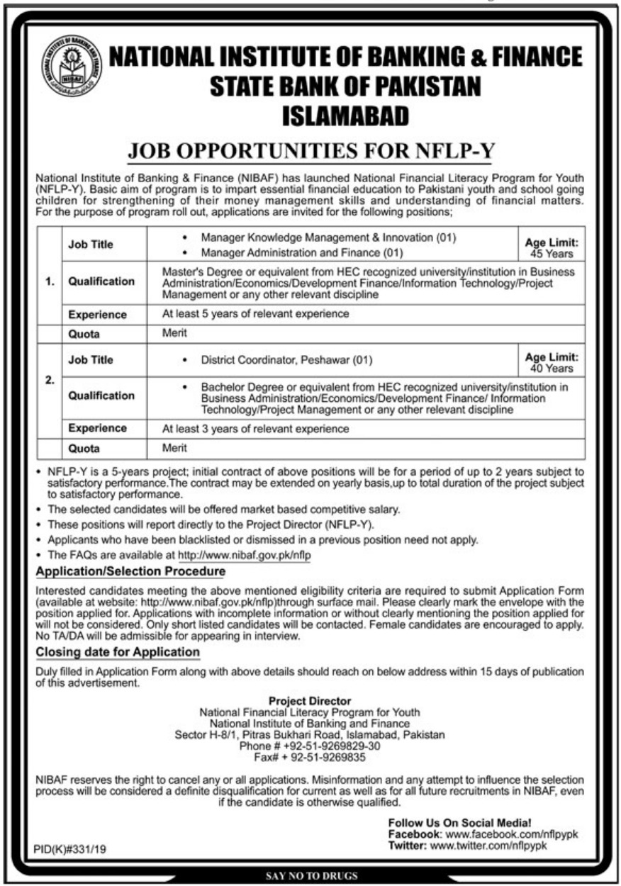 National Institute of Banking & Finance NIBAF Jobs 2019 SBP Islamabad
