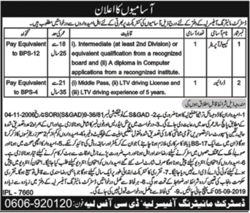 Office of District Monitoring Officer Layyah Jobs 2019