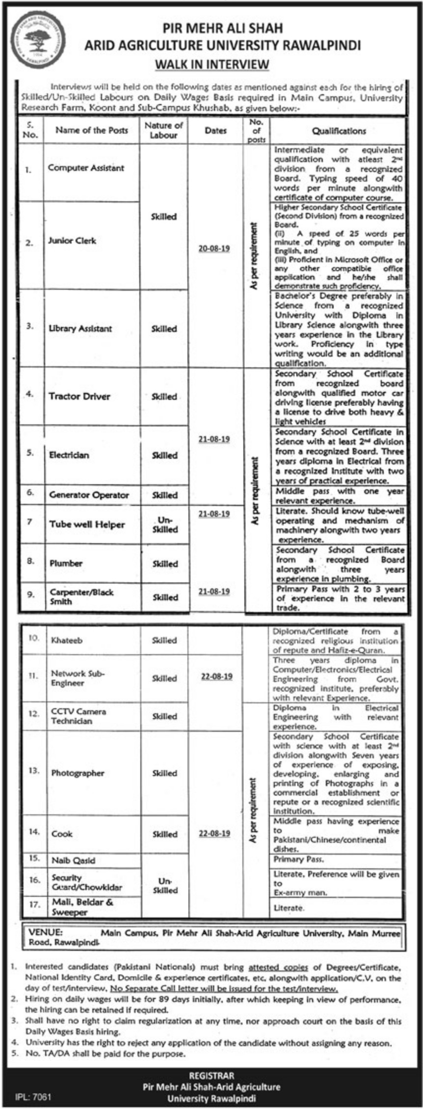 PMAS Arid Agriculture University Rawalpindi Jobs 2019 Walk-In-Interview