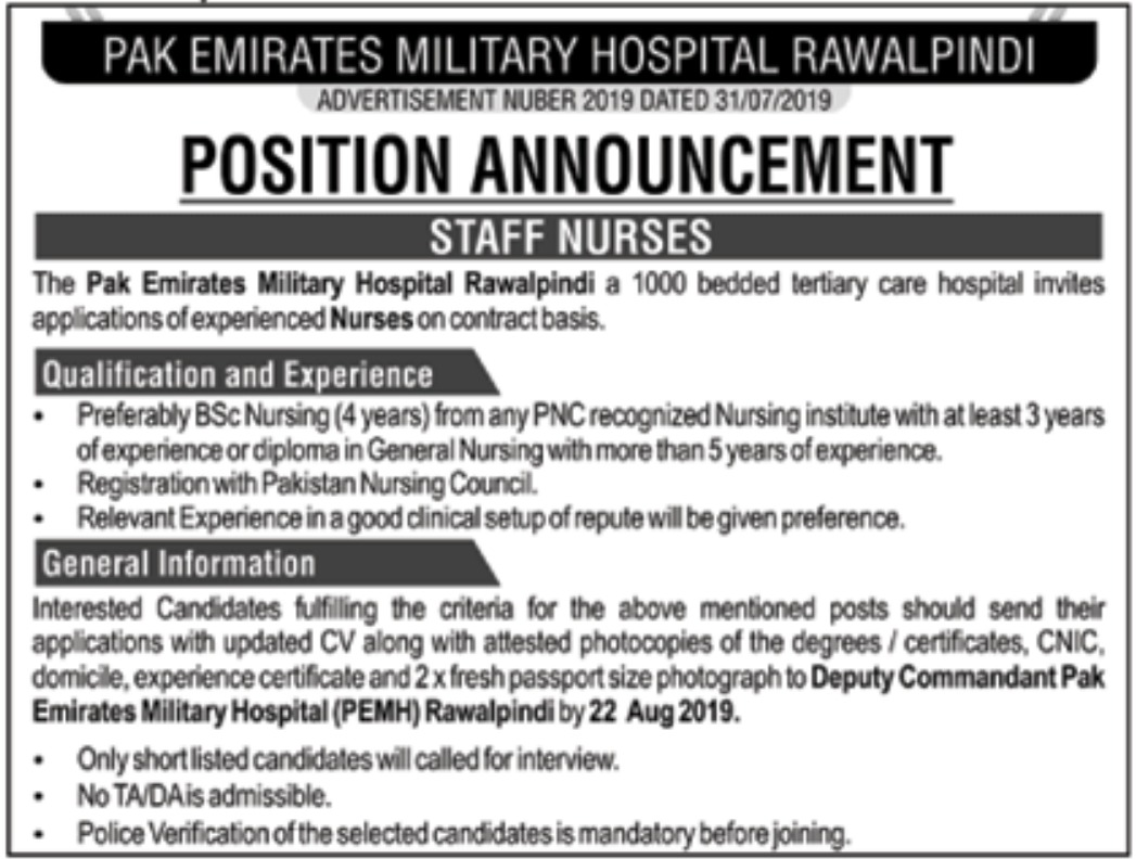 Pak Emirates Military Hospital Rawalpindi Jobs 2019