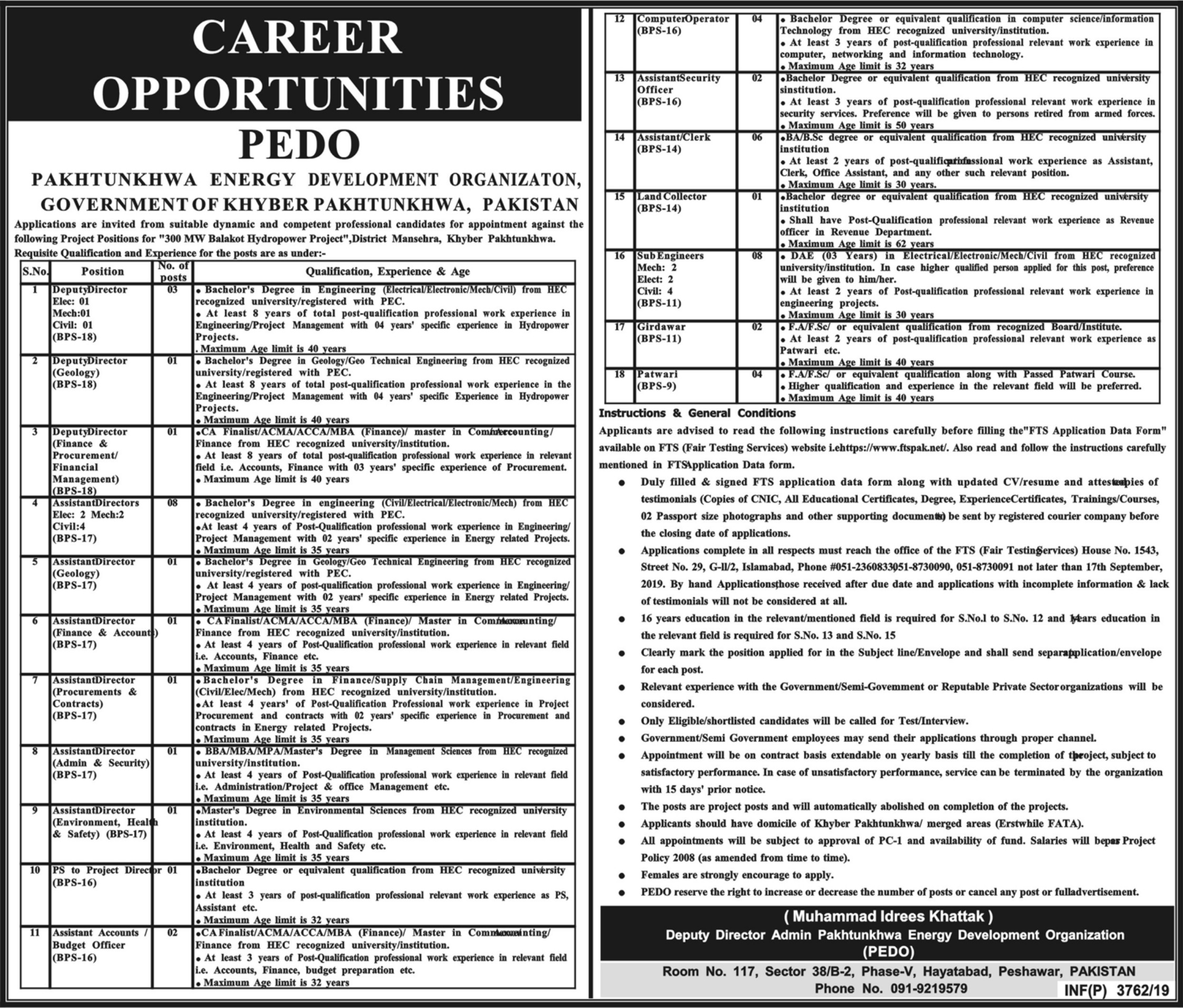 Pakhtunkhwa Energy Development Organization PEDO Jobs 2019 FTS Application Form Download