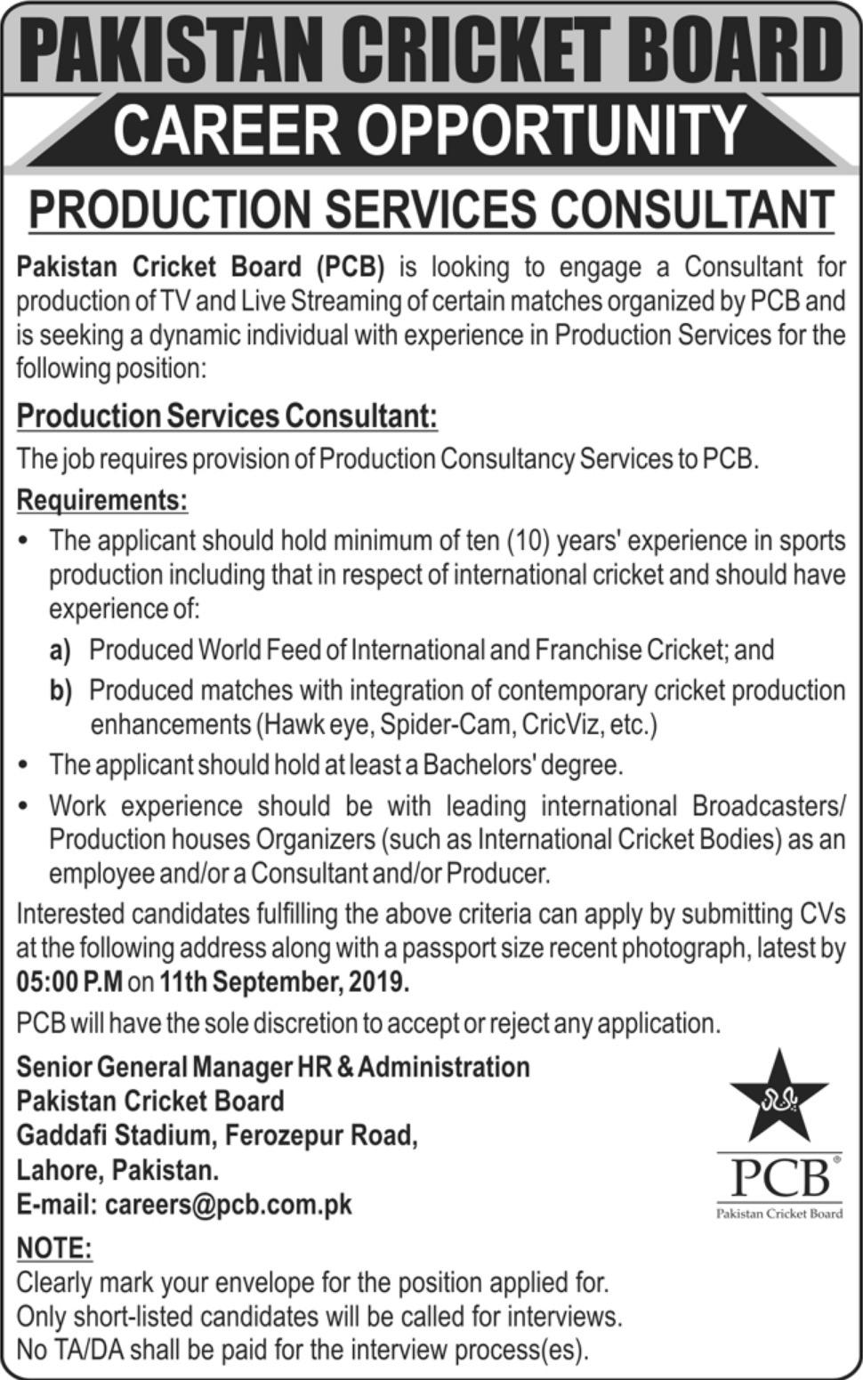 Pakistan Cricket Board PCB Jobs 2019 Production Services Consultant