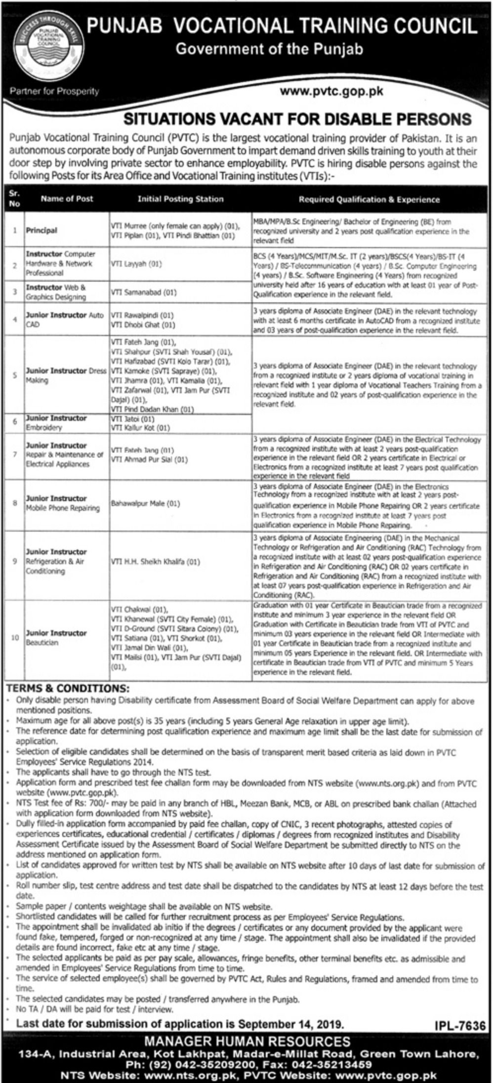 Punjab Vocational Training Council PVTC Jobs 2019 NTS Application Form Download