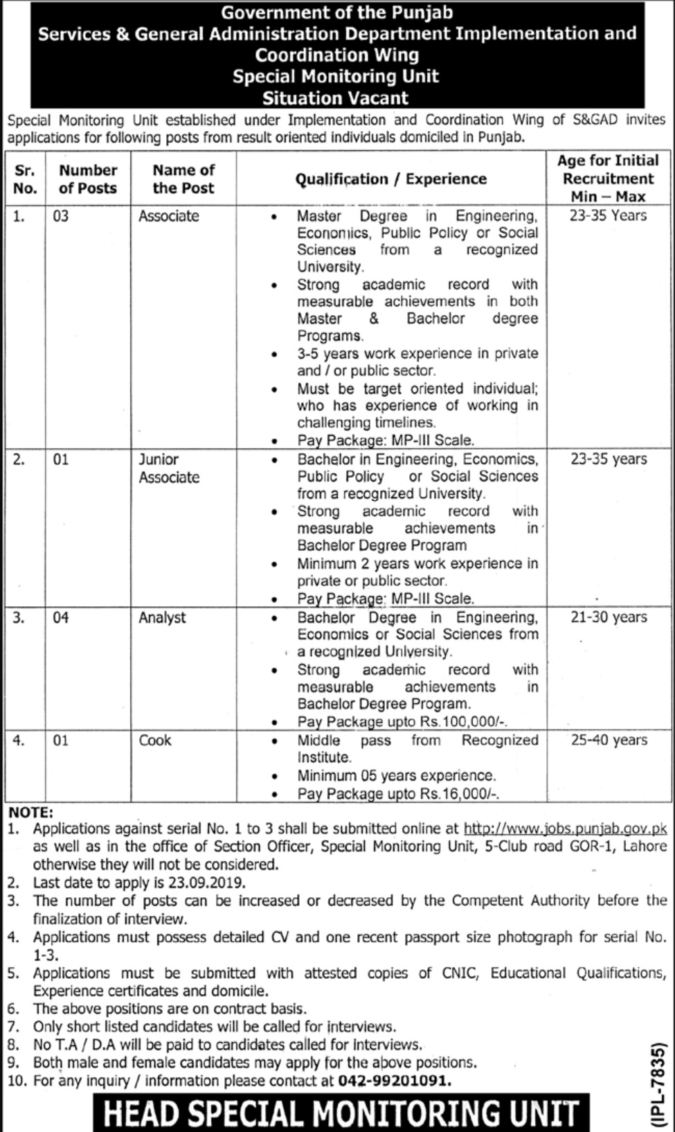 Services & General Administration Department S&GAD Punjab Jobs 2019