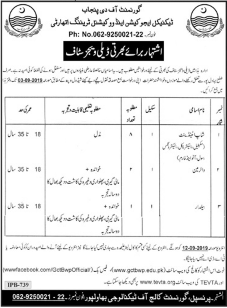 Technical Education & Vocational Training Authority TEVTA Jobs 2019 Punjab