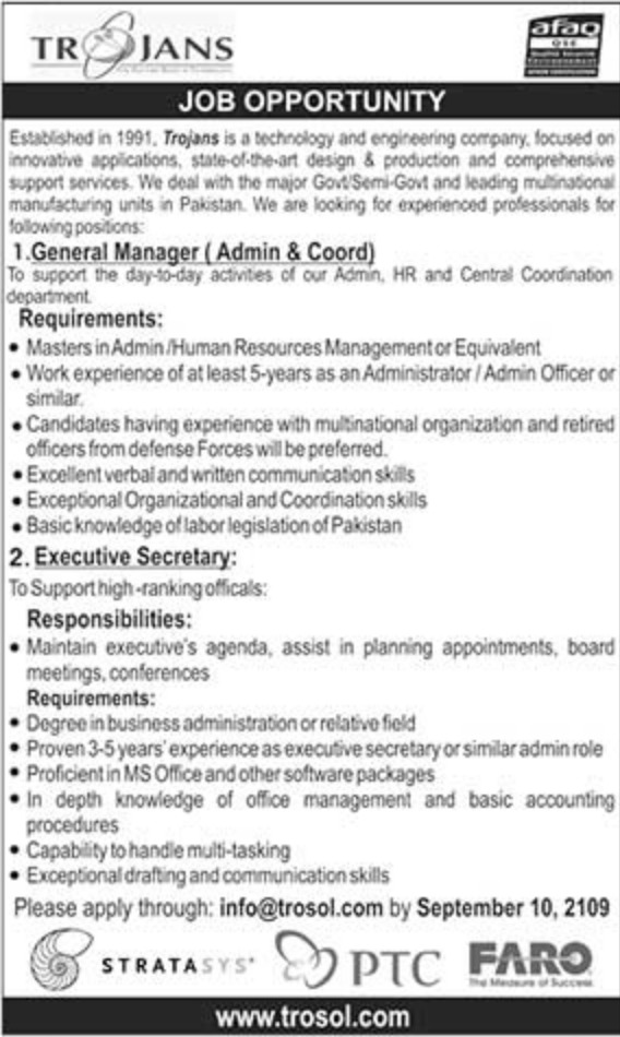 Trojans Pakistan Jobs 2019