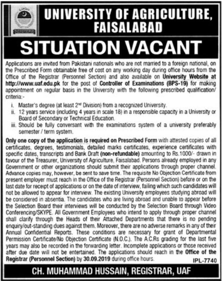 University of Agriculture Faisalabad Jobs 2019 Download Application Form
