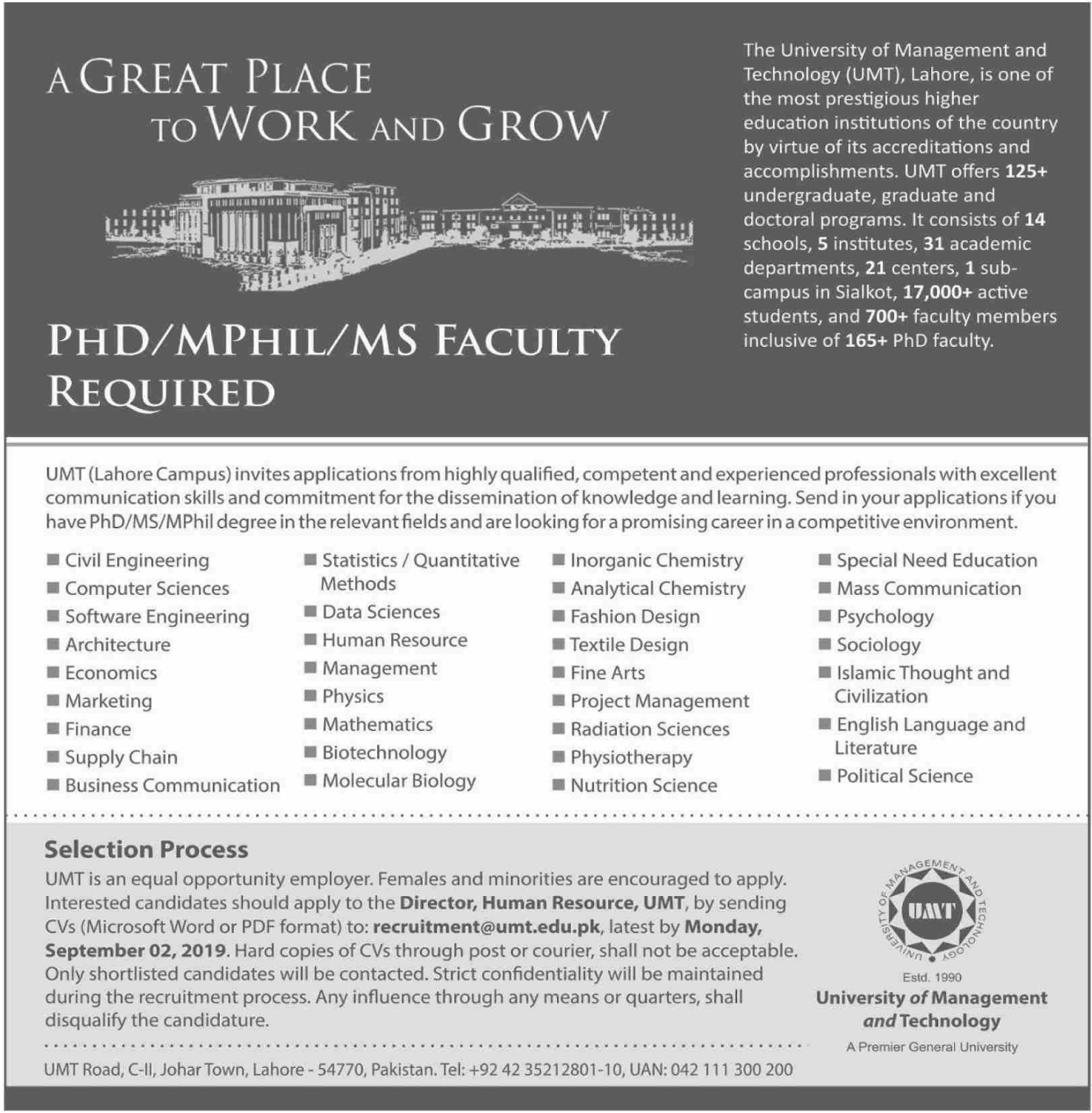University of Management & Technology UMT Lahore Faculty Jobs 2019