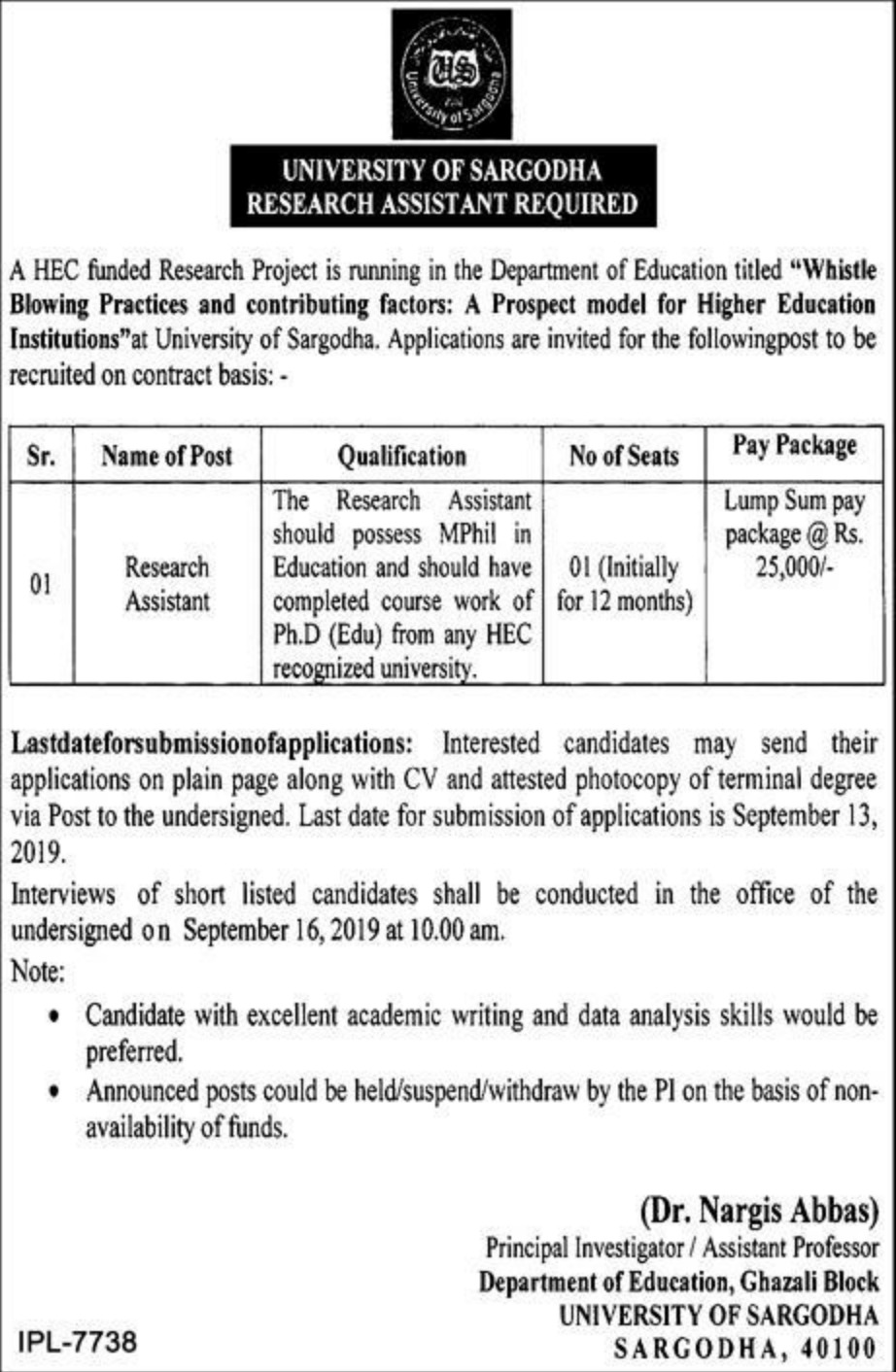 University of Sargodha Jobs 2019