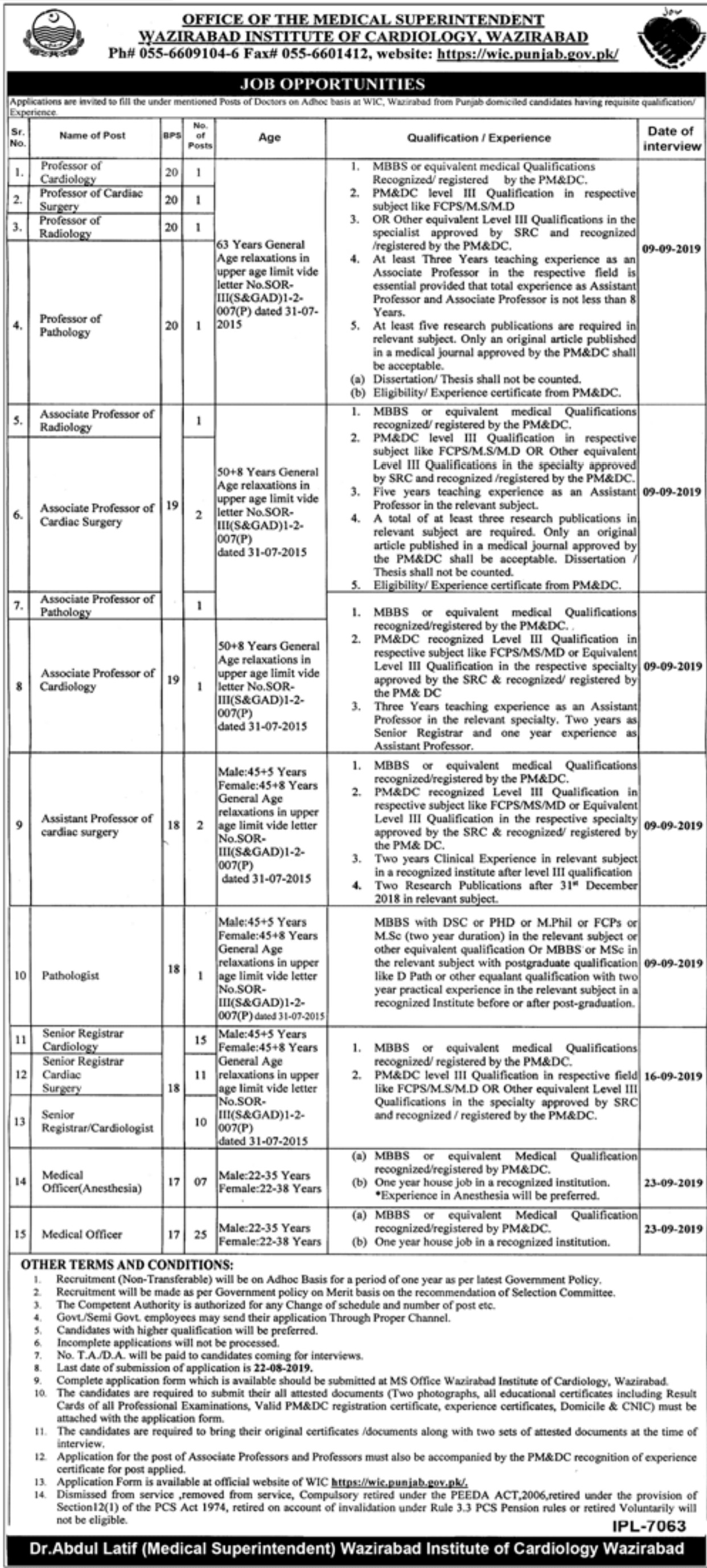 Wazirabad Institute of Cardiology WIC Jobs 2019 Download Application Form