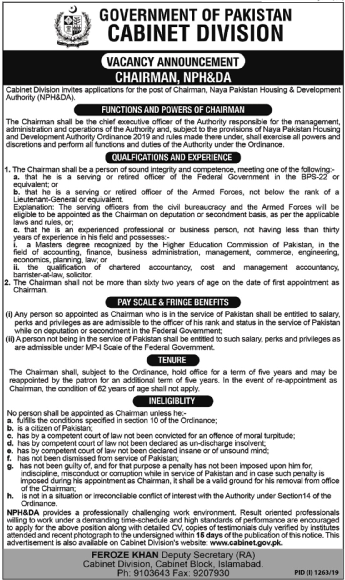 Cabinet Division Government of Pakistan Jobs 2019