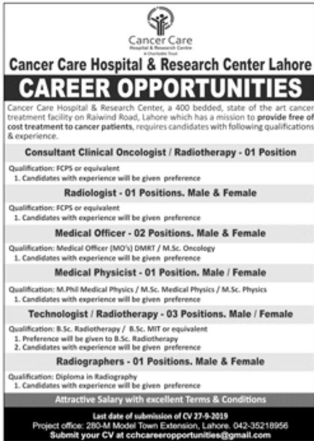 Cancer Care Hospital & Research Center Lahore Jobs 2019