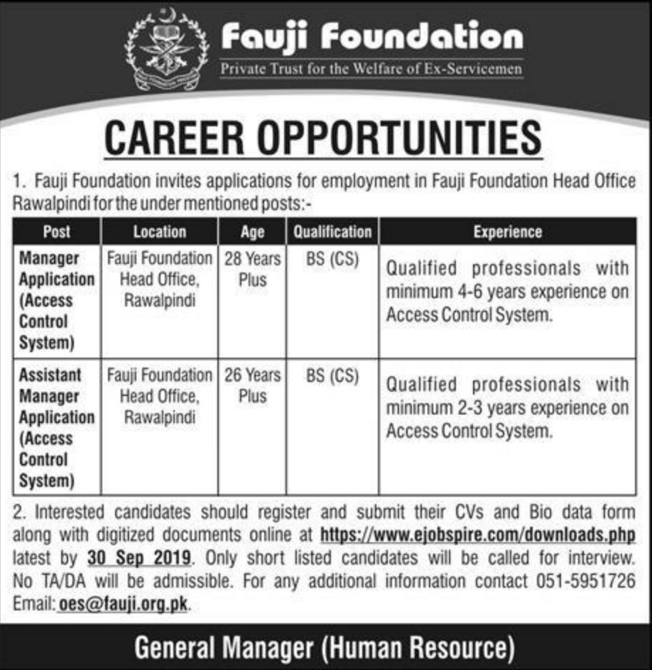 Fauji Foundation Jobs 2019 Apply Online