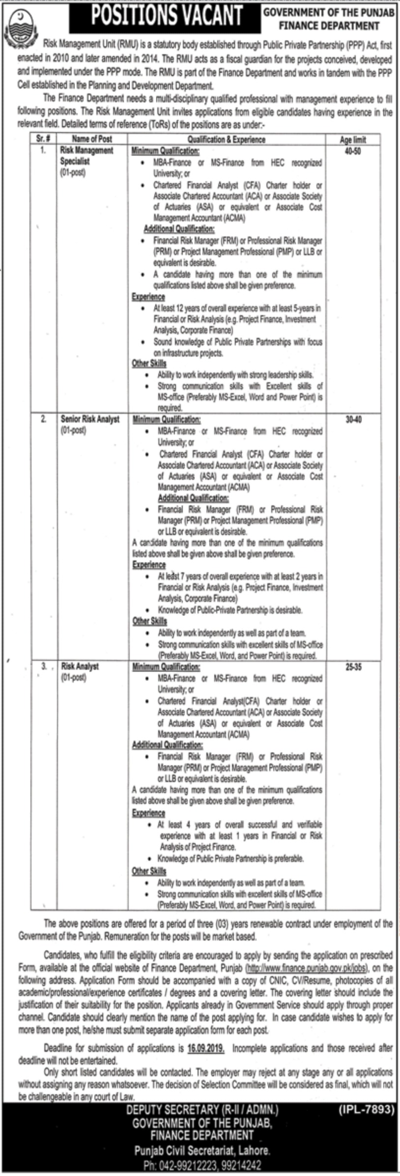 Finance Department Government of the Punjab Jobs 2019 Application Form