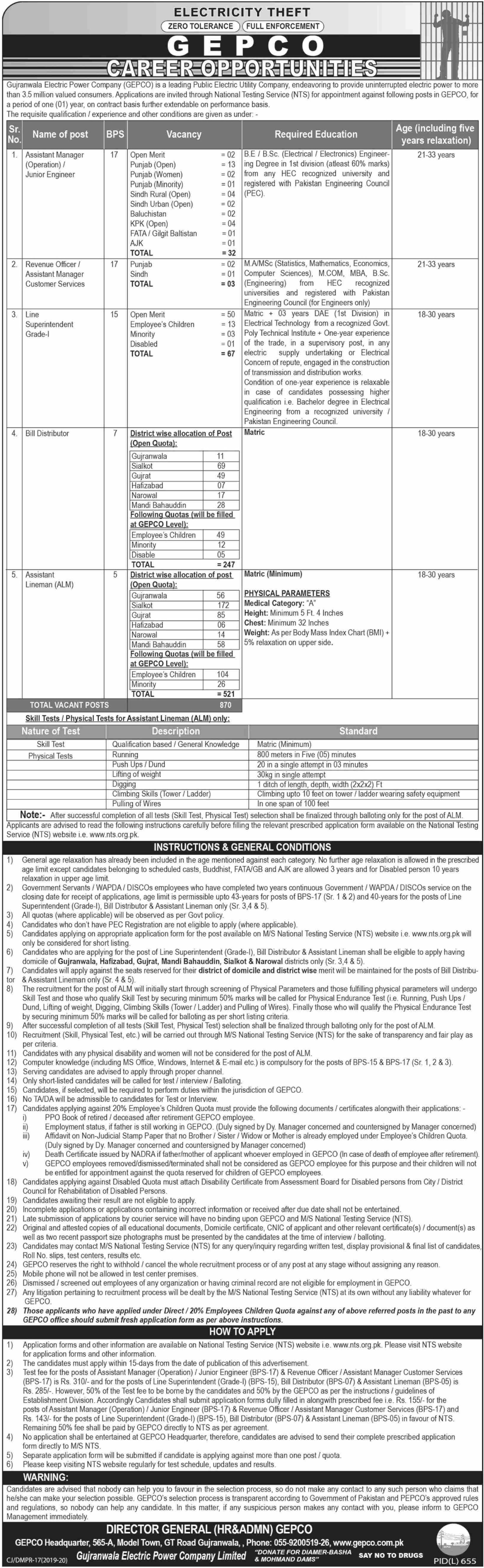Gujranwala Electric Power Company GEPCO Jobs 2019 NTS Application Form