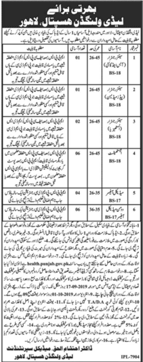 Lady Willingdon Hospital Lahore Jobs 2019